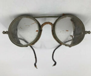 Wilson Optical Antique Motorcycle Safety Glasses - 30s - Leather Clear lenses