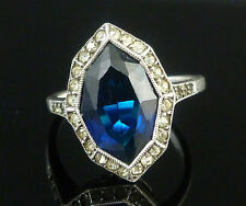 ART DECO SILVER MARCASITE BLUE PASTE RING