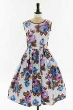 Vintage original 1950s 50s Remarque giant purple rose print cotton dress UK 14