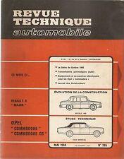 REVUE TECHNIQUE AUTOMOBILE 265 RTA 1968 ETUDE OPEL COMMODORE & GS EVO R8 MAJOR
