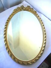 Vintage Gold Gilt Oval Wall Bevelled Mirror