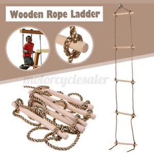 Kids Garden Outdoor Swings 5 Rungs Climbing Rope Ladder Wooden Chil