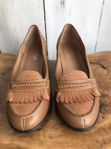 HOTTER KIEV LADIES WOMENS TAN NUBUCK LEATHER WEDGE HEEL LOAFERS/SHOES SIZE 4