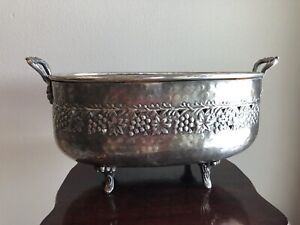 Silverplate Footed Bowl Pedestal Grapes Vines Centerpiece Wine Chiller