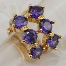 Elegant Amethyst Purple Three Stone Jewelry Gold Filled Huggie Earrings h1963