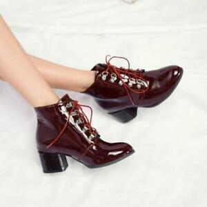 Women's Round Toe Lace Up Ankle Boots OL Patent Leather Block Mid Heels Shoes