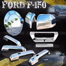 For F150 Chrome 4 Door Handle Side Mirror Tailgate Fuel Door Cover Overlay Trim