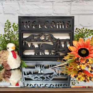 Rustic Folk Art WELCOME Deer Sign CMAS Gift Decor Primitive Fall Thanksgiving