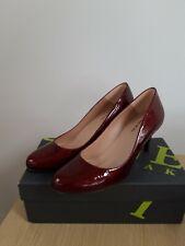 Jones the Bootmaker Burgundy Moc Croc Patent Court Shoes - UK Size 7