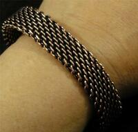 """Antiqued Solid Copper Woven Braided Bracelet Chain Mail Maille 18mm wide 7 3/4"""""""