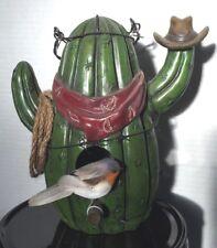 "decorative 10"" Southwest Cactus Birdhouse barbed wire & rope trim & faux bird"