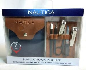 Nautica 7 Piece Stainless Nail Grooming Tool Travel Kit w/ Case - Men's Gift