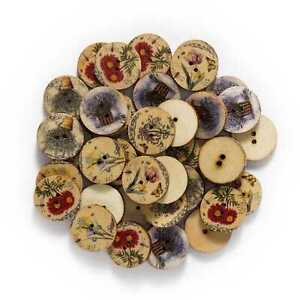 50pcs Retro series Wooden Buttons Sewing Scrapbook Clothing Crafts Handmade 20mm