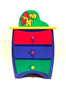 """Tollytots My Little Doll Dresser Colorful Wood Furniture New No Box 17"""" Tall"""