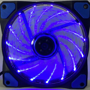 120MM Blue LED Gaming Quiet PC Computer Case Cooling Fan 3pin 4pin Molex New