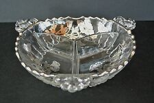"""Vtg. Silver City Sterling Silver on Clear Glass Divided 8"""" Relish Serving Dish"""