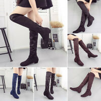 Women's Ladies Suede Over The Knee Thigh High Riding Boots Low Flat Heel Shoes