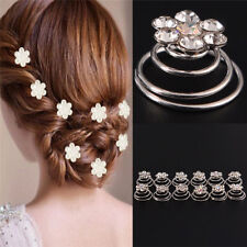12 PCS Wedding Bridal Jewelry Rhinestone Crystal Flower Silver Hair Comb ClipM&C