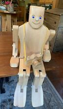 Large Vintage Don Ellefson Jointed Wooden Robot Doll Figure w/ Wooden Camera