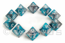 DICE Chessex Gemini  STEEL TEAL 10d10 d10 Set Marble Shiny RPG 26256 Grey Gray