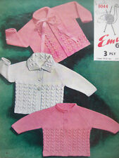 Baby Girls Boys VINTAGE CABLE CARDIGAN KNITTING PATTERN 3 ply 19 - 21 in 3 -18 m