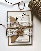 Rustic Wedding Invitations. Barn Wedding, Shabby Chic Twine. Wooden Heart Invite