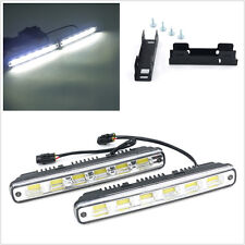 2pc White COB LED Daytime Running Light DRL Lamp Installation Bracket Controller