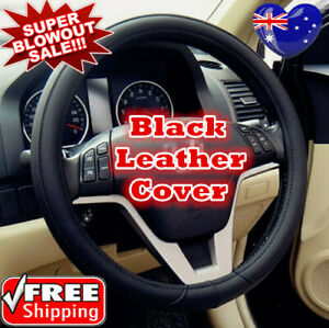 Universal 38cm Car Steering Wheel Cover Pure Black Color PU Leather Car Cover