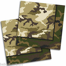 16 Green Brown Army Military Camo Camouflage Party 33cm Paper Luncheon Napkins