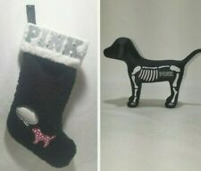 Victoria's Secret Pink Black Sherpa Christmas Stocking & Pink Skeleton Mini Dog