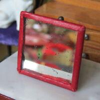 Antique 20s Fashion Doll RED MIRROR Vtg Pocket Hand Miniature Dollhouse 1920s