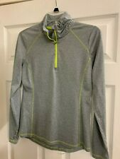 Danskin Grey w/ Lime Stitched 1/4 Zip Athletic Running Jacket Womens Size Xs