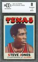 Steve Jones Rookie Card 1971-72 Topps #175 Texas Chaparrals BGS BCCG 8