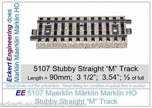 """EE 5107 GD (Fair to Good) Marklin HO Stubby """"M"""" Track 5107GD 1/2 Straight 90 mm"""