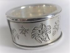 GUCCI STERLING SILVER FLORAL WIDE BAND RING SIZE M (BUT VERY SMALL WHEN ON)