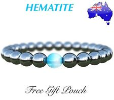Natural Hematite Stone Magnetic Blue Bead Bracelet Anti-Stress Anxiety Worry New