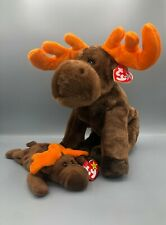 Ty Beanie Buddy and Babies Bundle Chocolate the Moose Pair Plush Stuffed Animal