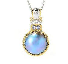 Gems en Vogue 20mm Blue Gray Mabe Pearl & Tanzanite Pendant, Sterling Silver 925