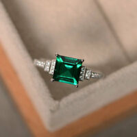 1.95 Ct Natural Emerald Gemstone Ring 14K White Gold Real Diamond Ring Size 7 8