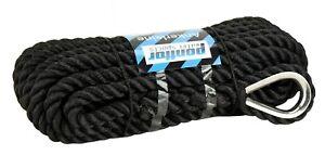 Ankerleine mit Niro Kausch Bootsseil Tauwerk Festmacher Seil Polyester schwarz