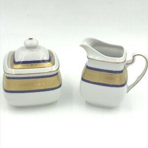Vintage Scherzer Creamer & Sugar Bowl Blue Gold Encrusted Band Cook O Matic DH4
