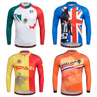 Men's Cycling Team Long Sleeve Jersey Reflective Bicycle Shirts Tops Full Zip