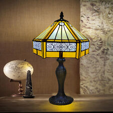 Tiffany Style Table Lamp Yellow Hexagon Shade 10 inch Stained Glass Decoration