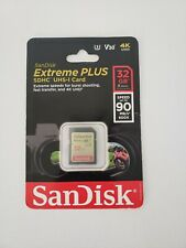 SanDisk Extreme PLUS 32GB SDHC UHS-I Memory Card 90MB/s New