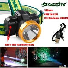3500LM CREE XPE LED Headlamp Headlight Head Light Lamp 1800mah Rechargeable USB