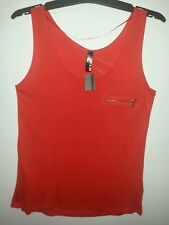 ED IT ED RED ZIP POCKET SINGLET TOP SIZE 14 NWT SLINKY VISCOSE FIT