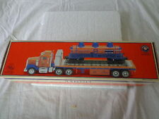 LIONEL TRAINS FLATBED TRUCK WITH 3 DOME TANKCAR  TRUCK OPERATING LIGHTS-SOUNDS-