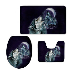 3pcs Wolf Bathroom Toilet Covers Mat Set Seat Lid Decoration Padded Flannel Rug