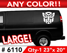 """TRANSFORMERS AUTOBOT LARGE DECAL STICKER 23""""w x20"""" Any 1 Color"""