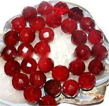Natural 10mm Faceted Red Ruby Gemstone Round Loose Bead 15'' AAAAAA